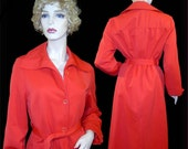Vintage 1970s red trenchcoat raincoat - Medium - 9 10 - Forecaster of Boston mac -  I. Magnin - striped lining - Made in USA
