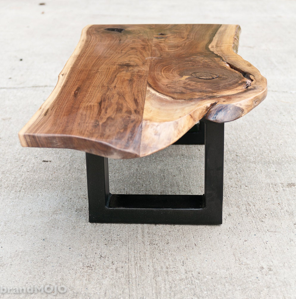 Live Edge Coffee Table Base: Steel Base Coffee Table Live Edge Bench By BrandMOJOinteriors