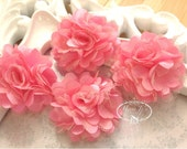 4 pcs - NEON PINK Tiny Size Petite Satin and Tulle Puff Mesh Flowers without hair clip wedding bridal bridesmaid brooch flowers