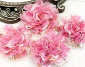 NEW: 4 pieces SMALL Shabby Chic Frayed Chiffon Mesh and Lace Rose Fabric Flower - Pink Lace Floral