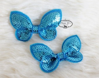 New: Set of 4 Turquoise SEQUIN Butterfly BOW Appliques 2.25 inch size. Sequin Bow Knot Applique. DIY Supplies.