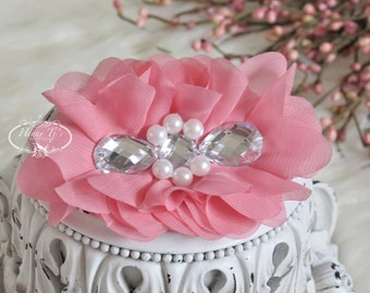 New: Reign Collection 2 pcs Silk Fabric Flowers with Rhinestones - CORAL PINK floral embellishments Layered Bouquet fabric flowers