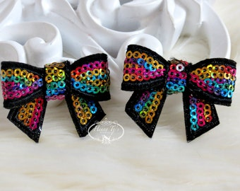 New to the Shop: Set of 4 BLACK RainBow Mini Sequin Bow Appliques 2 inch size