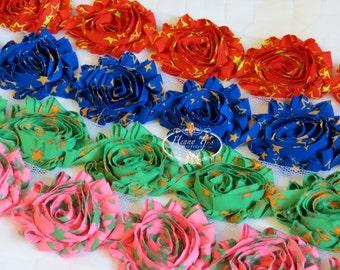 1 yard Neon Stars Patterned  2 1/2 inch- Chiffon Shabby Frayed Rose Trim, Hair Bow. Chiffon Rosettes