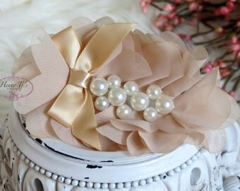 New: Pearlynn Collection - 2 pcs Silk Chiffon Fabric Flowers with Pearls - NUDE Tan floral embellishments Layered Bouquet flowers