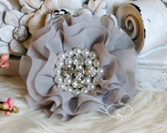 New: Reilly Collection, 2 pcs GREY Soft Chiffon Ruffled Fabric Flowers w/ Rhinestones Pearls - Layered Bouquet fabric flowers
