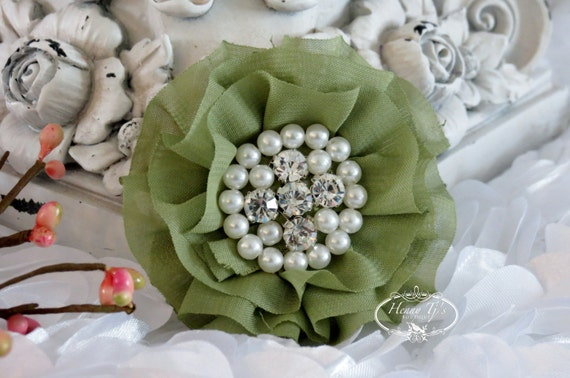 New: Reilly Collection, 2 pcs MOSS / OLIVE GREEN Soft Chiffon Ruffled Fabric Flowers w/ Rhinestones Pearls - Layered Bouquet fabric flowers