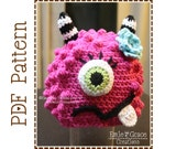 Monster Hat Crochet Pattern, 8 Sizes from Newborn to Adult, BRONSTER and MISSY MONSTER - pdf 104