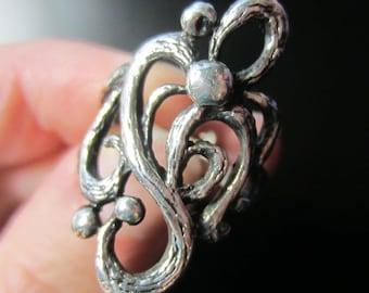 Vintage Sterling Silver Raindrop Vine Ring