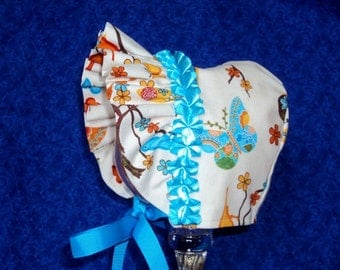 Handmade Baby Bonnet Butterflies with Ruffled Brim Decoration