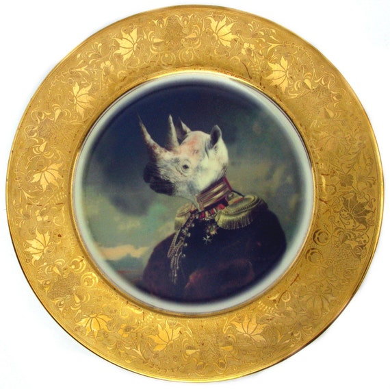 Lord Voluntus de Gaulle Portrait Plate - Altered Vintage Plate
