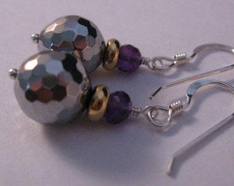 Platinum Gemstone dangle earrings,drop earrings,dangle earrings,gemstone earrings,silver earrings,amethyst earrings,gemstone jewelry