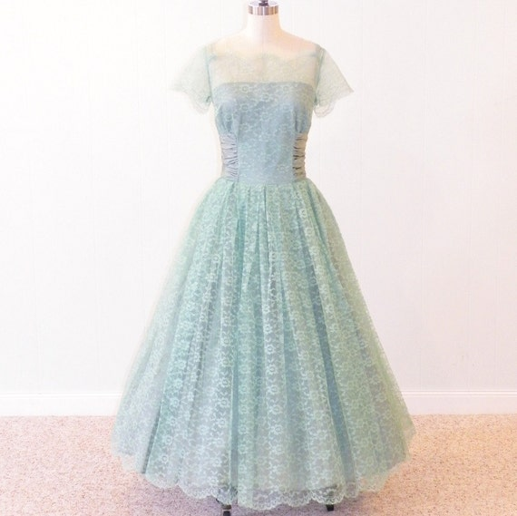 Vintage 50s Prom Dress 1950s Bridal Gown Sylvia Ann Mint