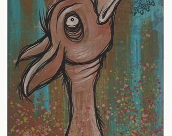 Hawkley - Original Acrylic Painting on Wood Block