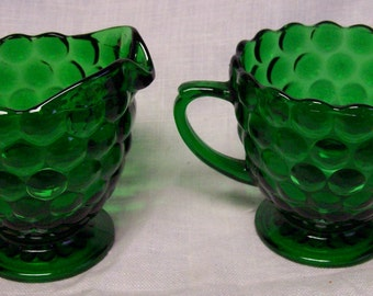 Vintage Anchor Hocking Forest Green Bubble Glass Fire King Creamer Pitcher & Sugar