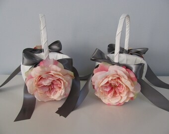 Flower Girl Baskets Set of 2 Shown Ivory with Open Pink Roses and Gray Ribbon