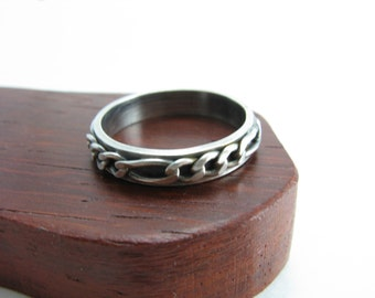 Mens Guys Chain Ring Band Biker Wedding Band Cool Ring Band for Guys