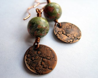 Unakite and Copper Charm Earrings, Martini Olives, Under 25, Earthy Tones, Rustic, Oxidized Copper Charms