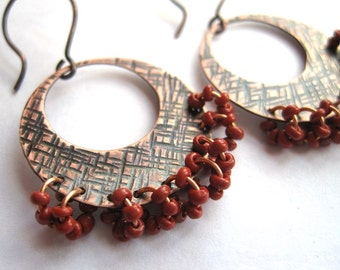 Gypsy Earrings, Hammered Copper and Red Beads Earrings, Rustic Earrings, Bohemian Earrings, 7th Wedding Anniversary Gift