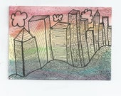 abstract ACEO of city - colorful rainbow cityscape - rainbow city art card - city drawing