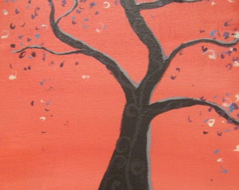 Abstract landscape download - 5x6 print of tree painting - red and black tree art print -modern tree print