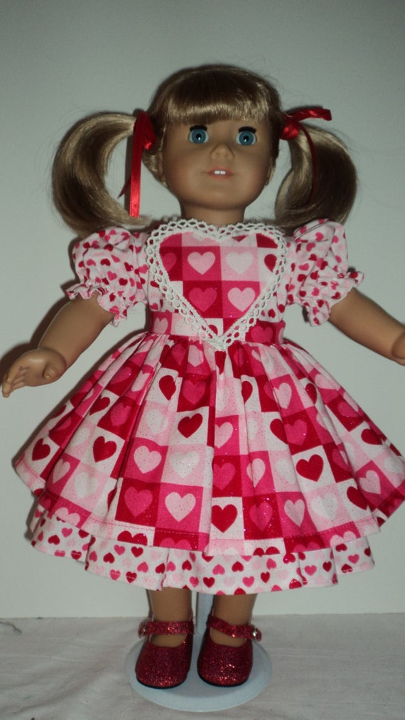 American Girl Doll Clothes Valentines Dress by susiestitchit