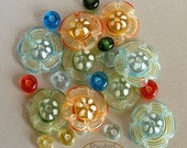 Lampwork Flower Glass Beads, FREE SHIPPING, Glass Disc Flowers and Donuts Beads - Rachelcartglass