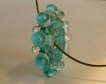 Transparent  Deep Teal Lampwork Glass Disc Beads, FREE SHIPPING, Handmade Lampwork Bubble Spacers Beads, Earrings Set - Rachelcartglass