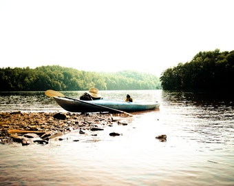 Summertime lake Photography kayak cabin river fun water's edge lake trees remote stone brown blue boat paddle - Taking a rest - fine art