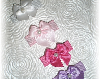 Baby Snap Clips, Baby Barrettes, Baby Hair Bows, Snap Clip Hair Bow - Set of 4 Clips that STAY in Hair