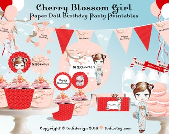 Cherry Blossom Girl Paper Doll Party - PERSONALIZED Birthday Party Printables -Japanese girls day party
