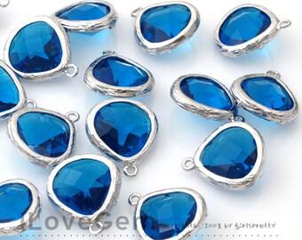 SALE/ 10pcs / G0130 Rhodium plated, Capri Blue, Glass fancy rosecut 13mm
