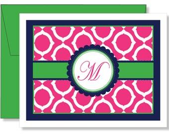 Custom Geo Pink, Green & Navy Blue Monogram Note Cards