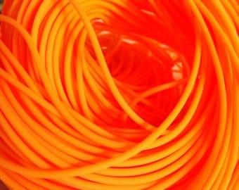 Rubber Cord tube 2mm(0,08in), hole 0,8mm(0,03in), PVC, Neon Orange, Fluo Orange- 4,5m/5 yards(1 piece)