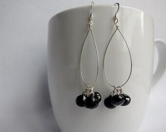 Black Onyx Sterling Silver Hoop Earrings, Silver Hoop Earrings