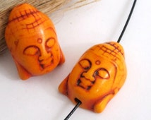 Salmon orange color turquoise howlite carved Buddha bead - 1 bead - BD287