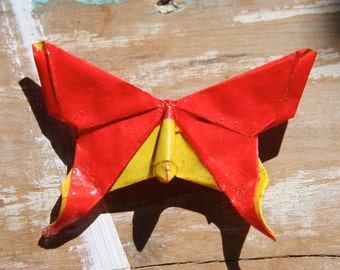 Origami Butterfly Broach - Bright Red and Yellow
