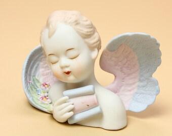 Lefton Musical Angel Figurine 432 - Ceramic Bisque