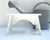 The Brook Vintage Style Step Stool in White Handmade by Circle Creek Home