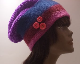 Womens Felted Cloche Hat Collection-OOAK Original Blue Pink Maroon Felted hat with Purple Crocheted Crowm