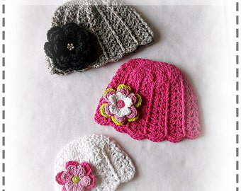 PDF Crochet Pattern Lacy Flapper Hat Beanie - Sizes Newborn to Adult - Boutique Design - No. 48 by AngelsChest