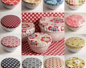 Laminated Cotton Oilcloth Reusable Bowl Covers set of 3 great for picnics, parties, everyday PICK YOUR FABRIC