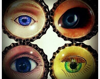 Set Two in a Series of Three Sets of  Four Creepy Baby Doll Eyes Bottle Cap Magnets