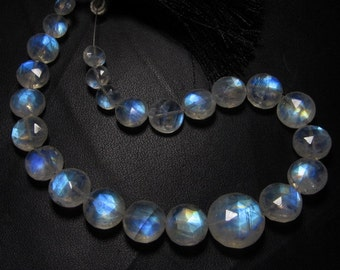 AAAA - High Quality Rainbow Moonstone Gorgeous - Flashy Fire - Faceted Coin Briolett Huge Size - 6 - 13 mm - 25 pcs