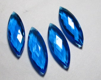 2 Matched Pair - AAAA - High Quality Gorgeous SWiss Blue QUARTZ Marquise Briolett Super Sparkle Huge size - 10x30 mm - drilled