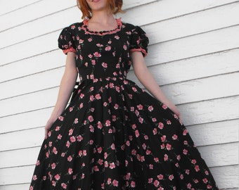 Black Floral Vintage Rockabilly Dress Print Pinup Circle Full Skirt S