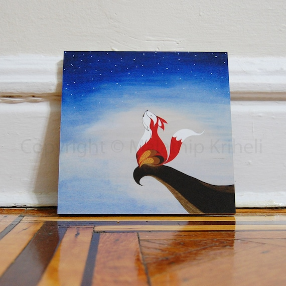 Singing with the Stars - 8x8 mounted art print with a fox