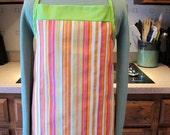 Apron: orange, pink and green stripes with green trim - one piece apron - one size fits all