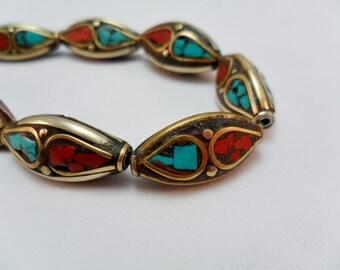 Tibetan Metal Bead, Old, Vintage Metal bead, Tribal, Inlaid Turquoise, Brass Bead, 22x10mm per pair