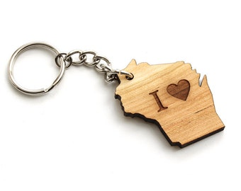 I Heart Wisconsin Keychain -Sustainable Black Cherry Wood . Timber Green Woods